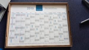 Jahreskalender 2019 mit Hinweise auf Termine