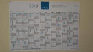 Großer Wandkalender für das Jahr 2019